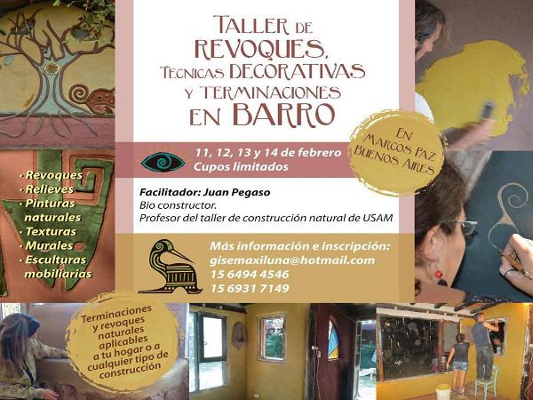 Taller de revoques, técnicas decorativas y terminaciones en barro, en Argentina