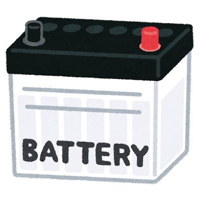 車のバッテリーのイラスト(黒赤)