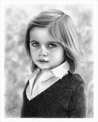 Dibujo a lápiz de niña pequeña