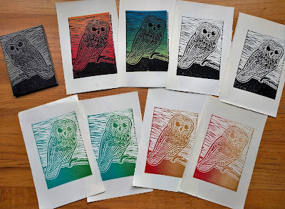 owl block prints, printmaking