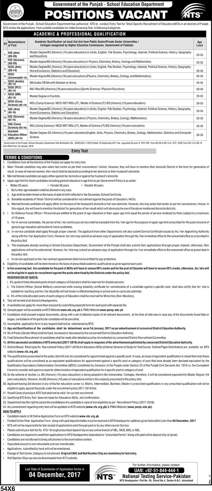 Jobs in Punjab, Pakistan Jobs, Jobs in Pakistan, Jobs in Lahore, Jobs in Faisalabad, Jobs for Teachers, Educator Jobs 2017, AEO Jobs 2017, Jobs in Multan, Jobs in DG Khan, Jobs in Rawalpindi, Jobs in Sargodha, Jobs in Layyah, Jobs in Kot Addu, Jobs in Samundri, Jobs in Sheikhupur, Jobs in Sahiwal, Jobs in Vehari, Jobs in Fatehpur, Jobs in Attock, Jobs in Mianwali, Jobs in Bhawalpur, Jobs in Rahim Yar Khan, Jobs in Kalar Kahar, Jobs in Jhang, Jobs in Gujranwala, Jobs in Sialkot, Jobs in Gujrat