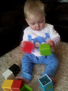 baby sitting, building blocks, 9 month old baby