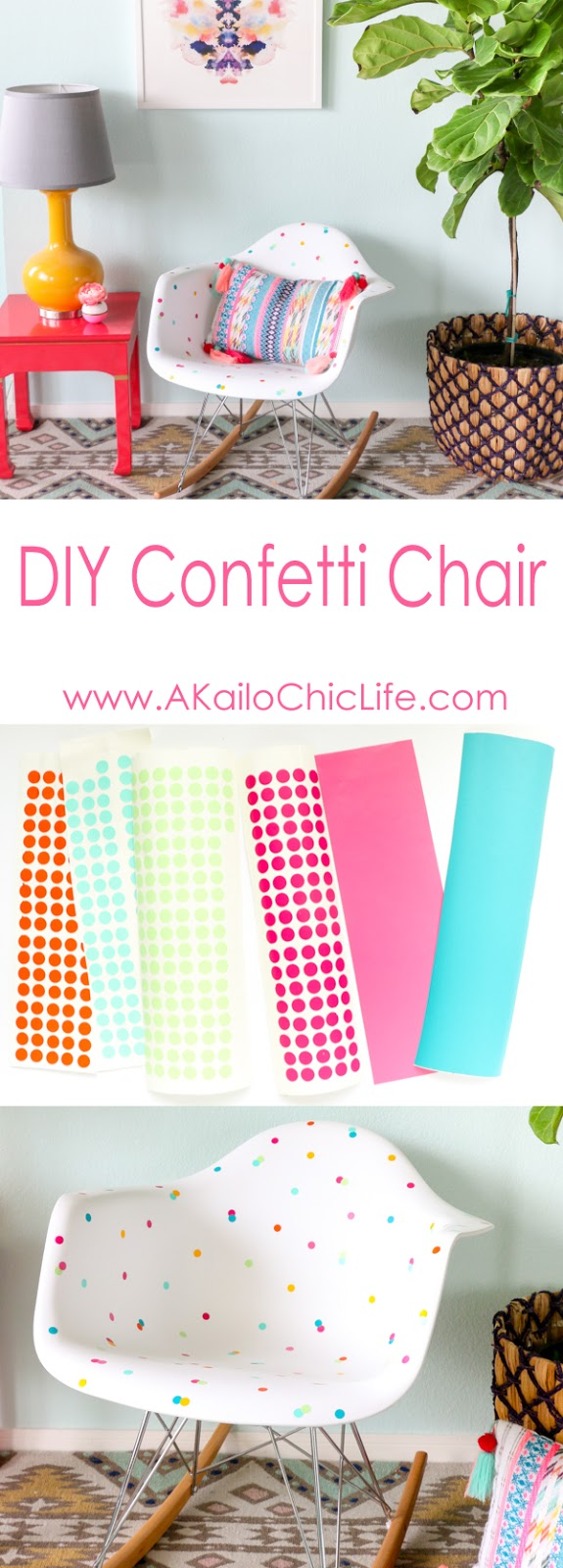 DIY Confetti Chair using A Silhouette Cameo Vinyl Cutter and temporary adhesive vinyl - DIY Project - Craft Project - Weekend DIY - Quick DIY - Home Decor Project