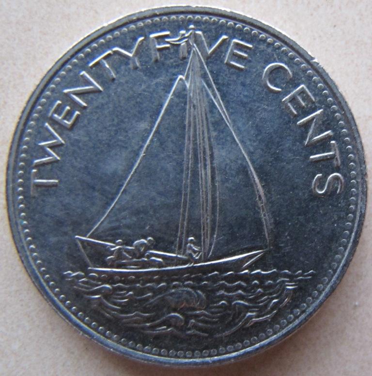 25 Cents Queen Elizabeth Ii 1966 Bahamas 57h Coins