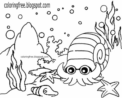 Triassic tropical marine fish easy sea big dinosaurs coloring pages fun cartoon drawing for children
