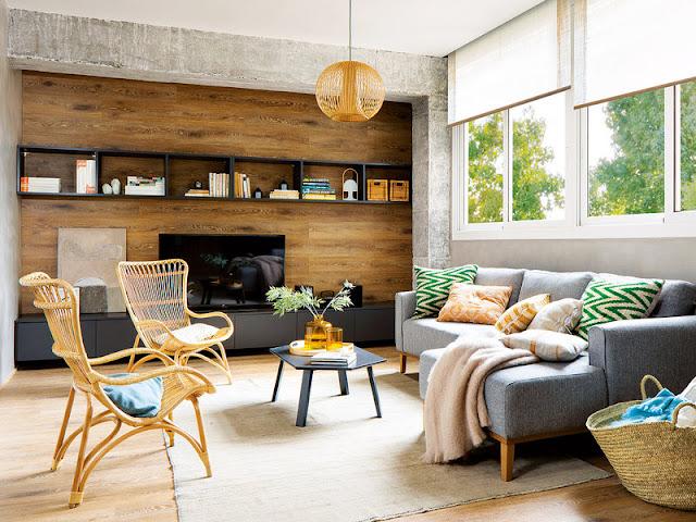 beton si lemn in living
