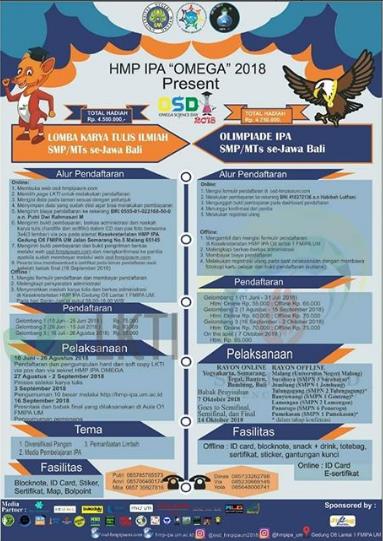 Lomba LKTI Dan Olimpiade IPA SMP Sederajat OMEGA 2018