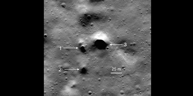 One of the highest resolution NASA Lunar Reconnaissance Orbiter images showing some of the newly discovered lava tube skylight candidates at Philolaus Crater near the North Pole of the Moon (NASA/Lunar Reconnaissance Orbiter/SETI Institute/Mars Institute/Pascal Lee).