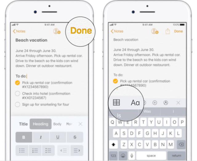 كيفية اضافة جدول أو عنوان أو قائمة تعداد نقطي في تطبيق الملاحظات Notes في iOS 11