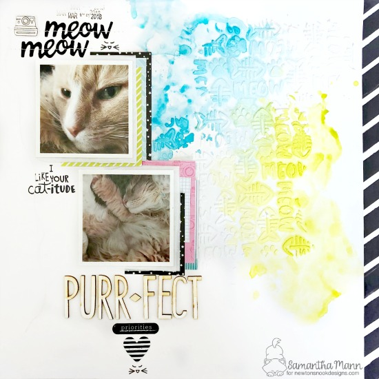 Cat Scrapbook page by Samantha Mann | Cat-itude Stamp Set, Pawprint Shaker Die & Meow Stencil by Newton's Nook Designs #newtonsnook #handmade