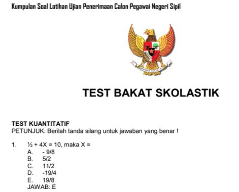 Contoh Soal Tes Cpns Tes Bakat Skolastik Dan Kunci Jawaban Pembahasan Portal Dadang Jsn