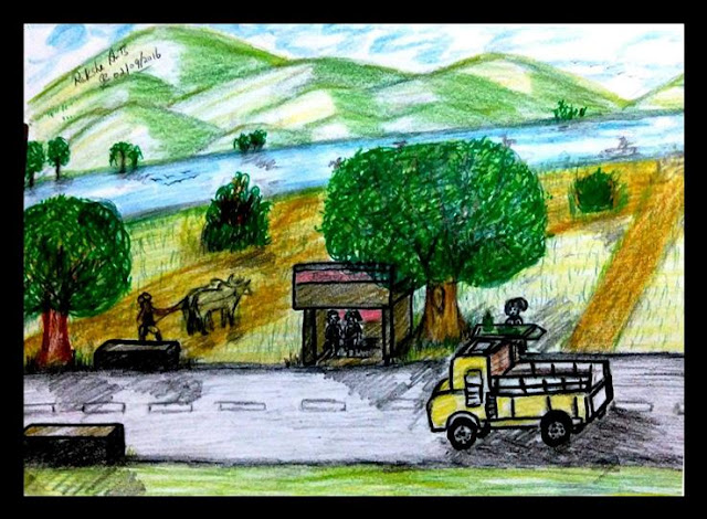 ORIGINAL DRAWING FOR SALE - TRICHY SCENERY