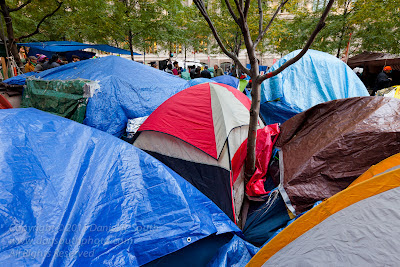 a photo of the occupy wall street encampment at zuccatti park in new york