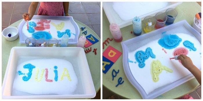 actividades y juegos aprender letras, lectoescritura, leer, escribir experimento bicarbonato vinagre ciencia