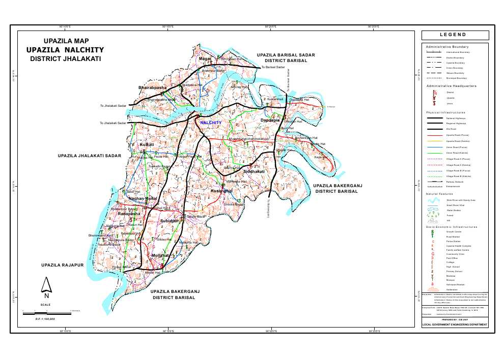 Nalchity Upazila Map Jhalokathi District Bangladesh