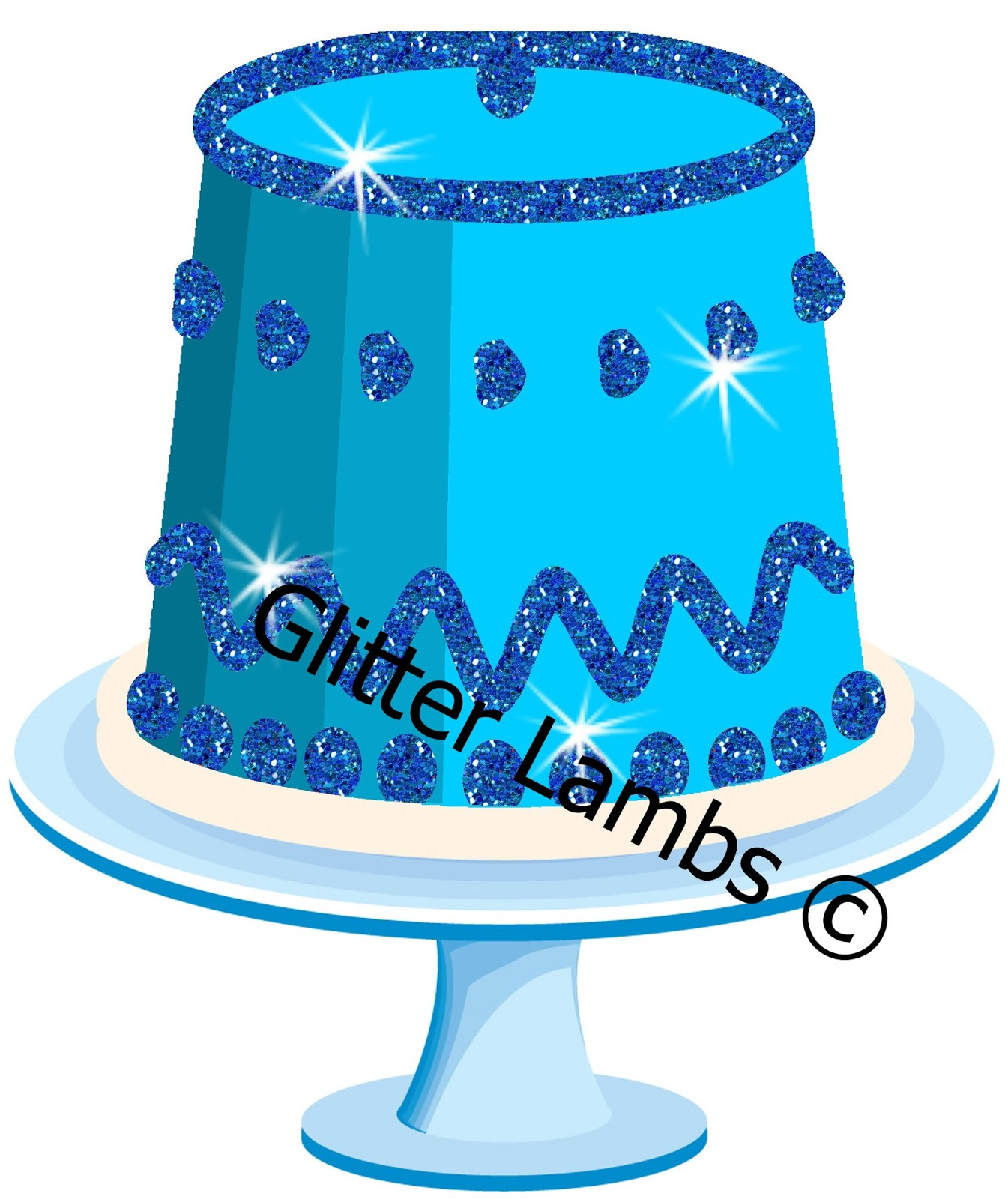 Glitter Lambs Blue Glitter Birthday Party Cake Clipart