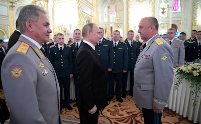 Vladimir Putin at a reception in honor of graduates of military academies.