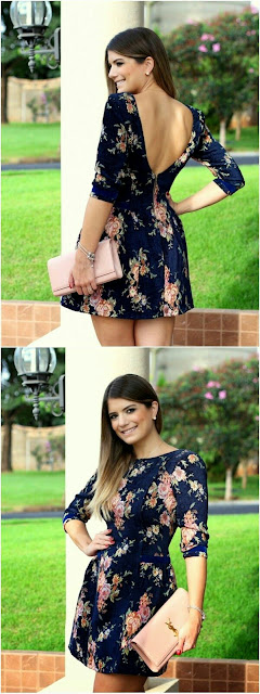 Floral printed back less dress