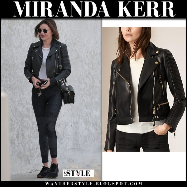 Miranda Kerr in black leather biker burberry jacket, black leggings and black sneakers what she wore streetstyle