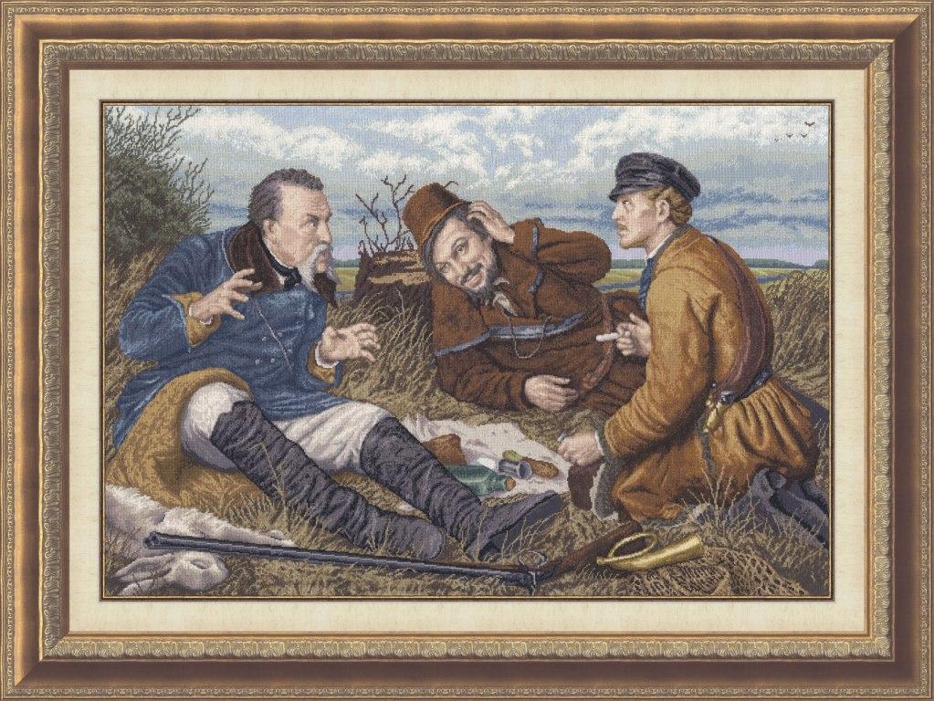 Схема вышивки охотники на привале