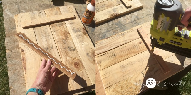 attaching pallet wood together with scrap plywood strips, glue, and nails