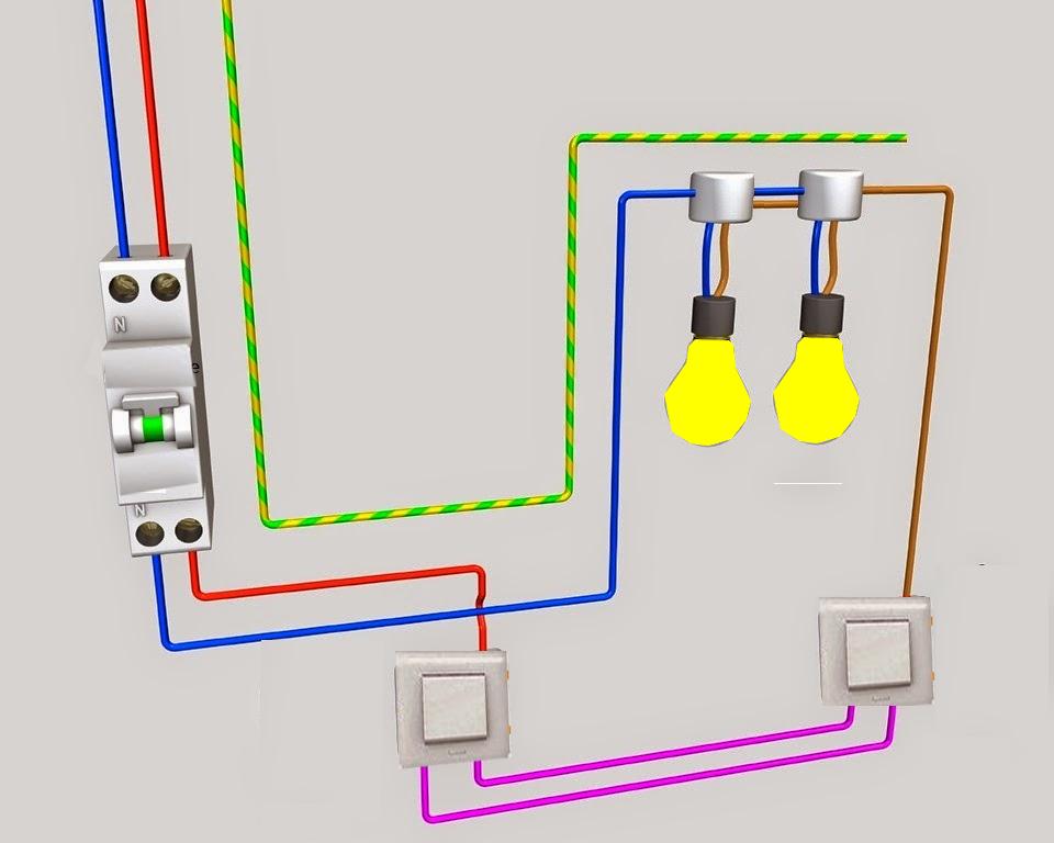 Schema electrique va et vient schema va et vient - Branchement va et vient 3 interrupteurs ...