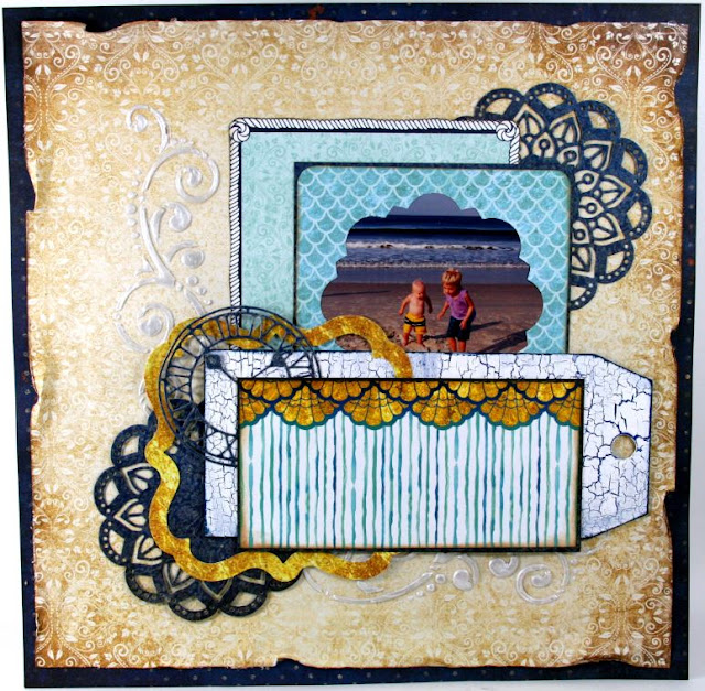 Beach Brothers Scrapbook Layout by Ginny Nemchak using BoBunny Down by the Sea and Pentart Mixed Media Supplies