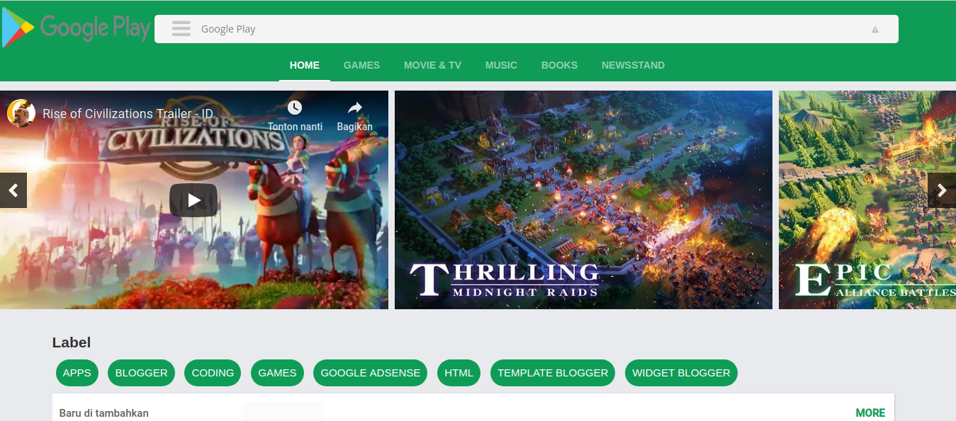 Template Blogger Mirip Playstore? Beneran! Cocok Buat Blog Download