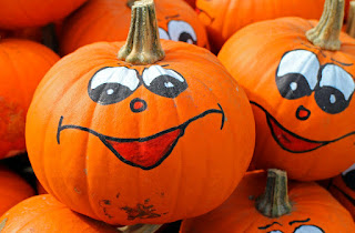 Faces painted on pumpkins