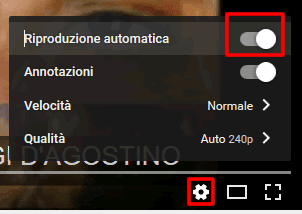 disabilitare la riproduzione automatica video youtube