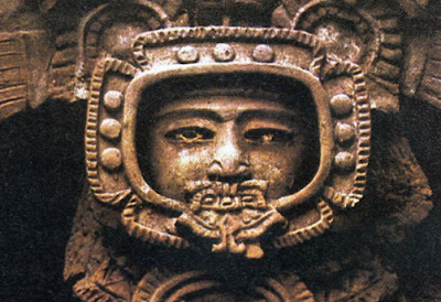 Ancient astronaut wearing a real space suit looks real.
