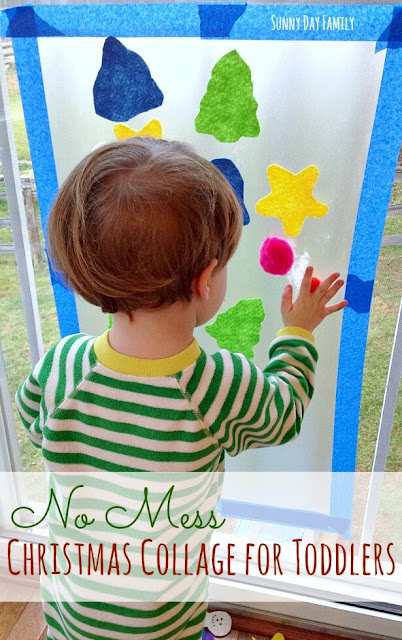 No Mess Christmas activity for toddlers! Toddlers love to make this fun contact paper Christmas collage - and there's no mess to clean up after!
