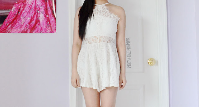 The white lace sleeveless cutout romper dress from Romwe, a sweet, angelic, princess-like look for spring and summer.