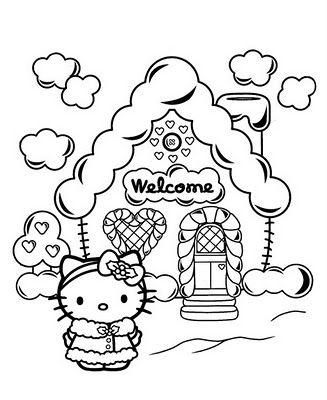 Tranh tô màu mèo hello kitty và ngôi nhà bông tuyết