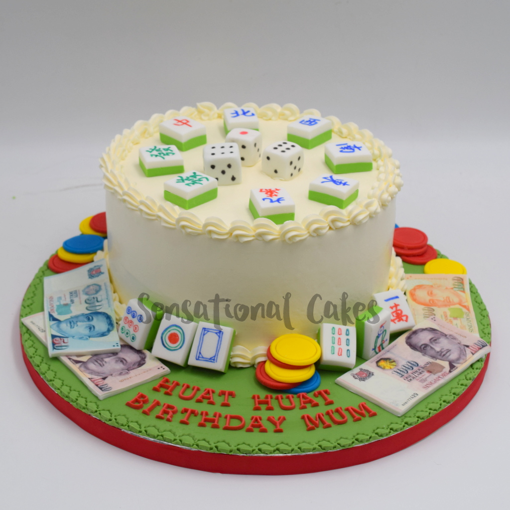 Mah Jong Dice Tiles Money For Adult Birthday Theme Cake Singapore Mahjongcake