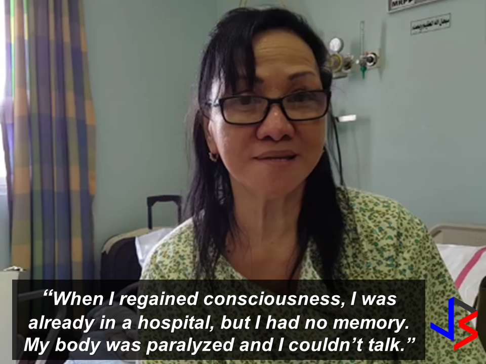 """An OFW who had been abandoned unconscious on the road after suffering a memory loss due to a complication from diabetes in December of 2014 is finally homebound to be with her family in the Philippines. Milagros Chenilla, 63, while on the way to a job interview with some friends has suffered temporary memory loss and fainted, when she woke up, she does not know anything about herself.   She was working as a teacher in Abu Dhabi for 6 years. After she lost her job, Chenilla stayed there for almost a year as an undocumented worker.   A good samaritan fellow OFW Ray Angulo, a volunteer social worker who had helped Chenilla from day one, said her friends left her unconscious on a street in Al Ghusais probably because of fear taht they would get caught by the authorities as they were also illegal residents. Through facebook search and with some friends, Ray helped Chenilla establish her identity while she was being taken care of at the Rashid Hospital.  According to Angulo,""""For several days, Chenilla was a 'Jane Doe' in the hospital; she was unknown. She had an episode and fell unconscious. She had no one visiting her, no friends, no one."""" Luckily after four days, they were able to trace who she really is. Angulo helped Chenilla in everything including the arrangements for her repatriation, though the Philippine Embassy and the consulate say they aided the repatriation. Chenilla needs to undergo one last operation when she arrived in the Philippines to remove her uterine fibroids. She said she will be taken care by her other daughter.  Though she has been abandoned by her friends and a sibling who is also in Abu Dhabi, she said she found a family with the company of  Angulo and for that she will be forever grateful.  """"I have all but gratitude in my heart right now. I'm finally going home. The feeling is indescribable."""" Meanwhile, a home of an OFW in Sitio Abuno, Barangay Pajac, Lapu-Lapu City was robbed.  Maria Longcanaya, 40, an OFW in Saudi Arabia, said she knew them t"""