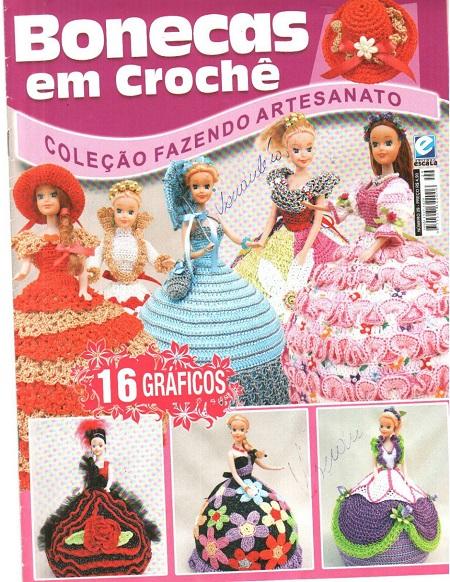 PAP Vestido de Noiva para Barbie - revista Bonecas em Crochê - Coleção Fazendo Artesanato
