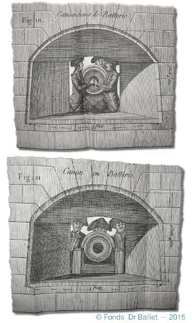 Disposition classique d'une embrasure selon Belair (1793) (Coll. Fonds Balliet)