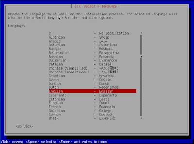 Pilih bahasa installasi debian 8