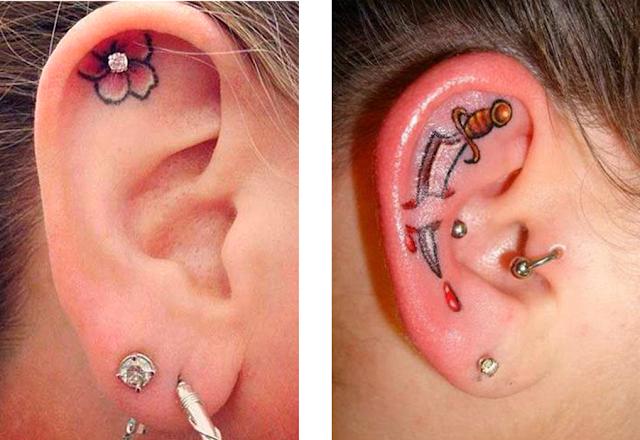 Inpirações de tatuagem no ouvido que são mais bonitas do que usar piercing