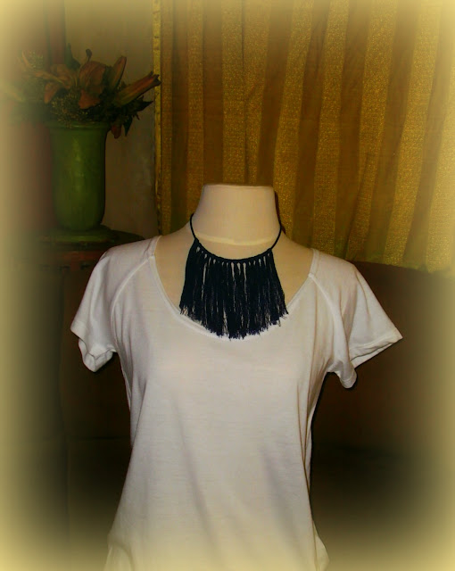 Denim Fringe Necklace