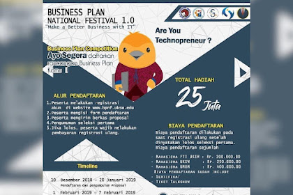 Lomba Business Plan National Festival 1.0 2019 Mahasiswa