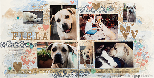 Layers of ink - Dog watercolor layout by Anna-Karin with stamps by Hero Arts