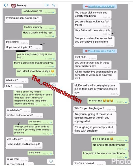 No chill! Between a guy who impreganted a girl and his Nigerian mum