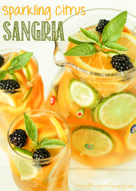 Sparkling Citrus Sangria via Dizzy Busy and Hungry
