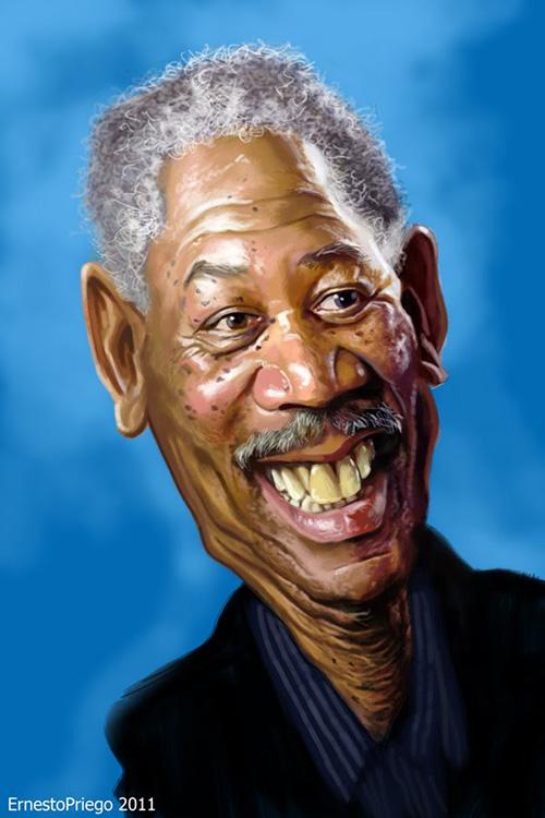 """Caricatura de """"Morgan Freeman"""" por Ernesto Priego"""