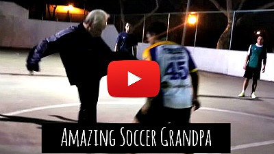 Watch French freestyle football star Sean Garnier disguised as an old man (Grandpa) teach arrogant youth a lesson with his amazing soccer skills via geniushowto.blogspot.com amazing soccer skills