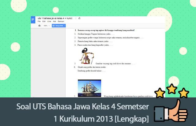 Soal UTS Bahasa Jawa Kelas 4 Semetser 1 Kurikulum 2013