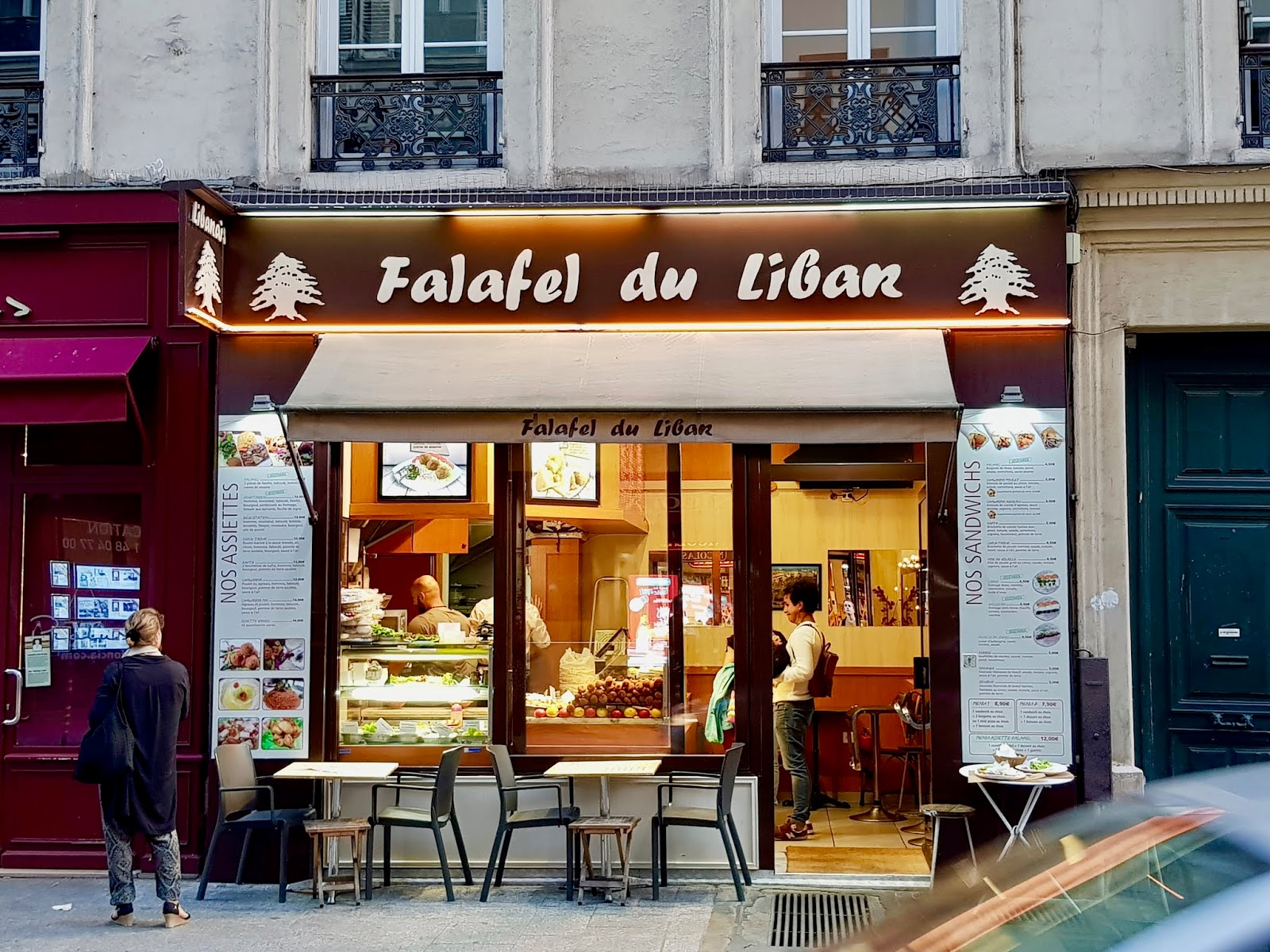 exterior of falafel du liban restaurant in paris