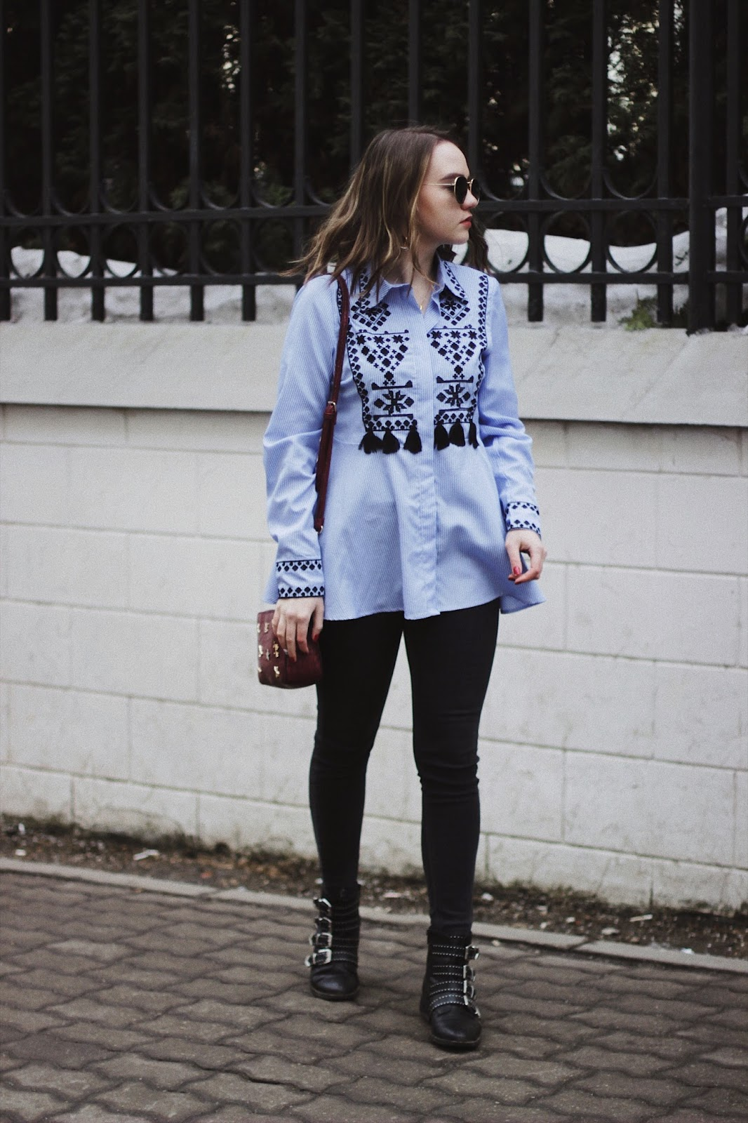 Blue Embroidery Shirt | Fashion Blogger